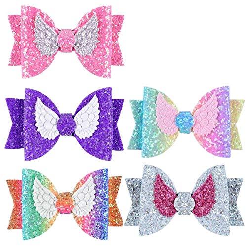 5 Stks Pailletten Haar Strikken Glitter Haar Clips Boutique Haaraccessoires voor Peuters Tieners Kids Meisjes