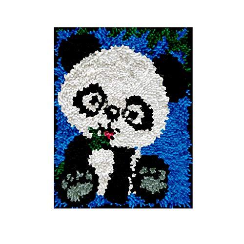 DIY Latch Hook Rug Kits, Kit de Ganchillo Alfombras para Adultos, Alfombras de Crochet Bordados en Punto de Cruz con Lienzo Impreso-Panda 11,8*15,7inch
