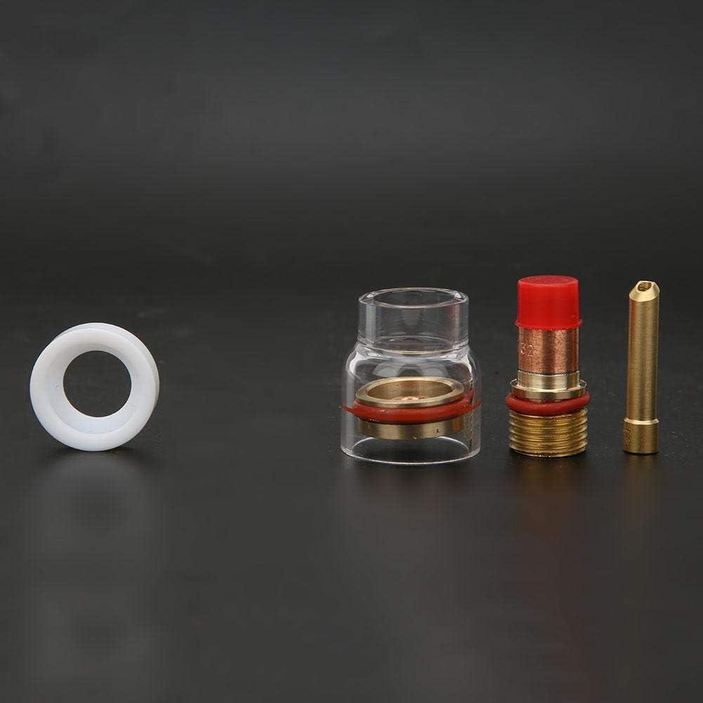 2.4MM Collier de Protection de Fluide pour Guide de Filtre de Torche de Soudage pour kit de Chalumeau TIG-17//18//26 avec Couvercle en Verre Transparent