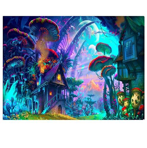 Sticker Superb Mágico 3D Impresión de Animales Tapices Manteles Colgar en la Pared Fibra de Poliester Tapiz para Dormitorio Sala Dormitorio Patio Azul Púrpura (Mundo de Cuento de Gadas, 150 x 200 cm)