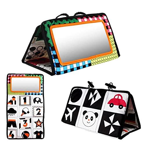 TangYang Tummy Time Mirror, Giocattoli sensoriali Montessori per Bambini Specchio per attività ad Alto Contrasto Giocattolo per massaggiagengive Giocattoli per Bambini in Bianco e Nero