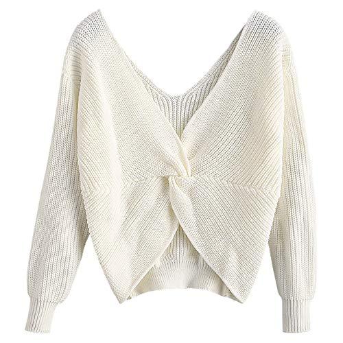 ZAFUL Women's V-Neck Criss Cross Twisted Back Pullover Knitted Sweater Jumper (White, S)