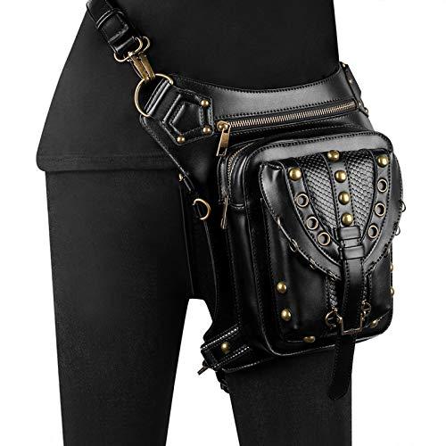 CVBGH Bolsos Punk Tendencia De La Moda Bolso De Mensajero De Un Solo Hombro Bolso Pequeño Femenino Bolso De Cintura Negro
