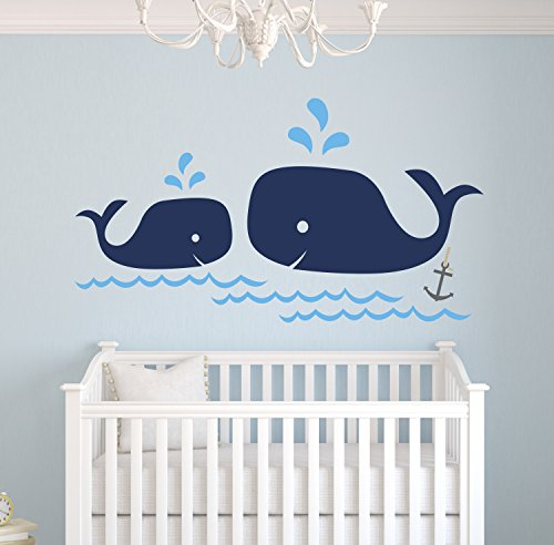 Whale Family Nautical Mom and Baby Wall Decal - Nursery Wall Decals - Nautical Nursery Decor Vinyl Sticker