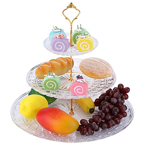 Fruit Holder, 3 Tier Round Acrylic Transparent Serving Platter Dessert Nuts Cupcake Display Tower Supplies Tray Carrier Stand for Party Wedding Birthday (#1)