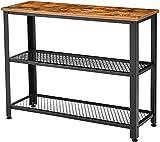 Mesa de consola de madera de 3 capas, mesa de sofá con marco de metal, para sala de estar, pasillo