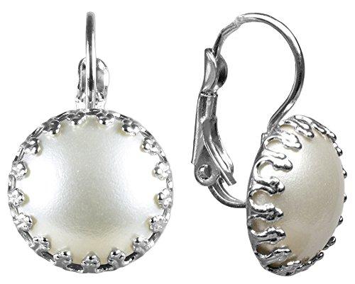 LUISIA Ohrringe Silja mit cremeweißem Kronen Anhänger - Trachten Schmuck perfekt zu Dirndl, Lederhose und Sommerkleid