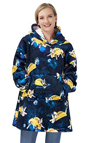 ALISISTER Blanket Hoodie Übergroße Weiche Warme übergroße Pulli Sweatshirt Decke 3D Cool Galaxis Pizza Katze Drucken Plüsch Wearable Sherpa Hoody Kapuzen Kuschelpullover mit Gaint Tasche