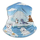 Imagen de Animales árticos Osos Polares Pingüinos Foca Lobos Ballenas Obra de Arte Azul Cielo y Blanco Cuello más cálido Polaina