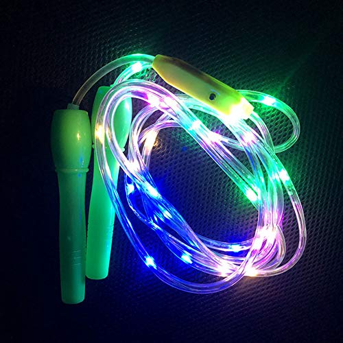 Ranjaner 3 Pack Glowing Skipping Rope LED Light Up Jump Rope, Flashing Color Change LEDs Light Skipping Rope, Adjustable Length and Three Light Modes, for Kid, Adults, Fitness