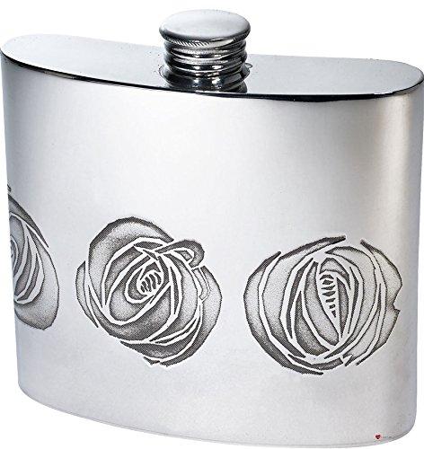 Hip Flask 6oz Kidney Shape Single Line Rose Design Pewter Ideal for Engraving