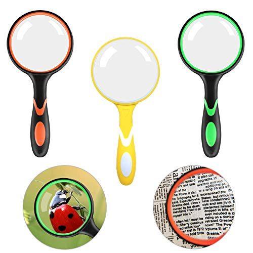 3 Pack Magnifying Glass 10X Reading Handheld Magnifier, 75mm Thickened Magnifying Lens with Non-Slip Soft Handle for…