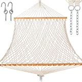 Gafete Rope Hammocks for Outside Large Double with Spreader Bar Traditional Hand Woven Cotton Hammock with Chains, Tree Hooks, for 2 Person Piato Outdoor 450 LBS Weight Capacity ( Natural )