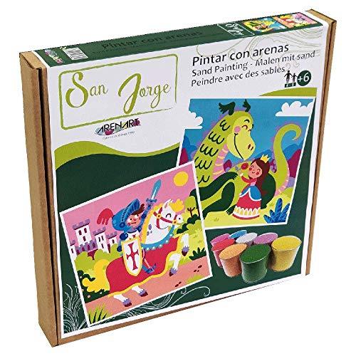 Arenart | Pack 2 Dibujos Sant Jordi 30x30cm | para Pintar con Arenas de Colores | Manualidades para Niños | Dibujo Infantil | +6 años