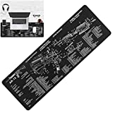 Gun Cleaning Mat, Rifle Build AR-15 Gun Maintenance Gunsmithing Tools Cleaning Mat Printed with Exploded Parts Diagram; Non-Slip & Solvent Resistant Long Large Thick Durable Pad-36.2'x12.5'-Black