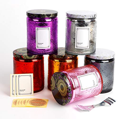 Empty Glass Candle Jars with Lid, 6 Pack Embossed Glass Container, 8 oz Portable Storage Tins for Girls Gift Homemade DIY, 6 Shining Colors