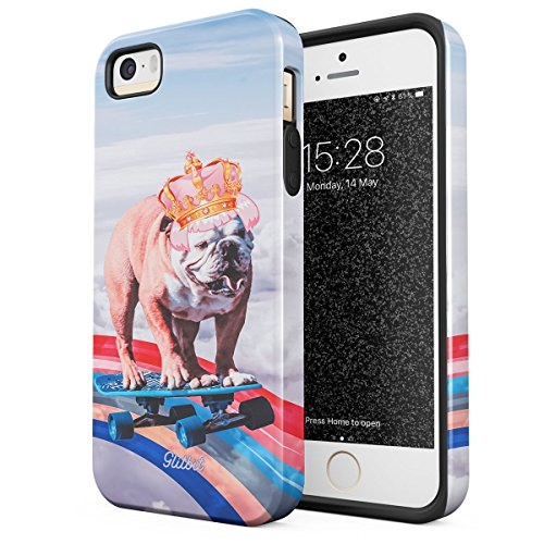 Glitbit Compatible with iPhone 5 iPhone 5s iPhone SE Case French Bulldog Flying Rainbow Dog Trippy Laser Unicorn Doggo Dog Lover Heavy Duty Shockproof Dual Layer Hard Shell + Silicone Protective Cover