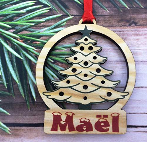 Legno Palle di Natale Personalizzate con Nome - Palla per Albero di Natale Personalizzabile - Pallina di Natale Personalizzata - Decorazione Natalizia - Decorazione Natalizia in Legno Naturale - 18
