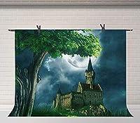 月の写真の背景の下でHD石の城7x5ftレトロな城の背景のスタジオの写真の小道具LHFU595
