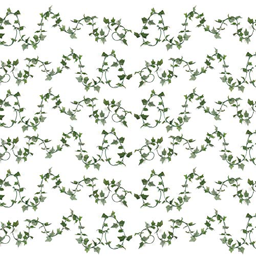 Mr.Bom 12 Pack Fake Ivy Garland UV Resistant Ideal Fake Vine Hanging for Wedding Party Wall Stair Room Bedroom Decorations 88 Ft