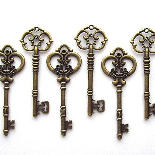 Mixed 20 Extra 3 1/4 Zoll Große Vintage Skelett Schlüssel Antike Schlüssel Alt Schlüssel Bronze Schlüssel Hochzeit Retro Schlüssel Deko(Silber)