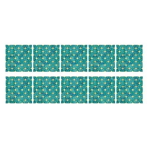 Mosaik Tapete, 10 Stück wasserdichte Bodenaufkleber Selbstklebende Wandaufkleber Aufkleber (TS251)