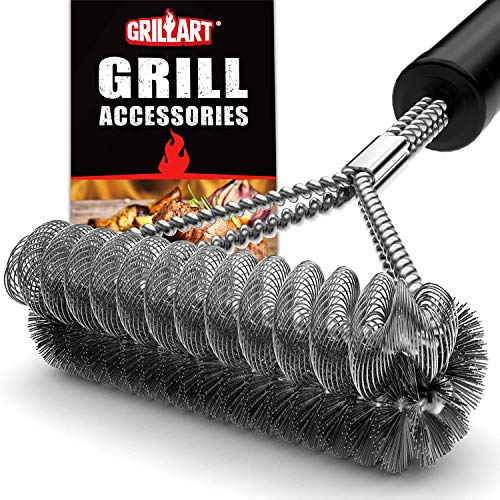 GRILLART Grill Brush Bristle Free & Wire Combined BBQ Brush - Safe & Efficient Grill Cleaning Brush- 17' Grill Cleaner Brush for Gas/Porcelain/Charbroil Grates - Perfect BBQ Accessories Gifts for Men