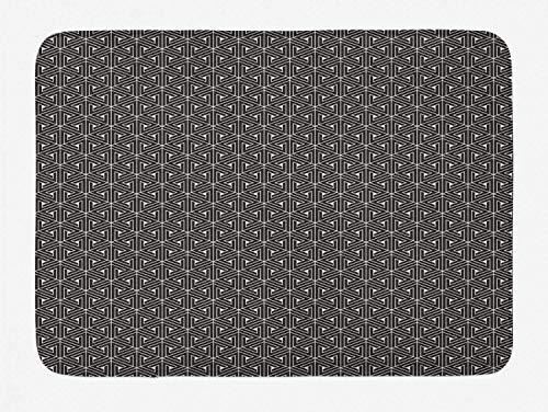 AoLismini Gitterbadteppiche, abstrakte dreieckige Formen mit gedrehten Linien, geometrische Netzfliesen, weiche Badteppiche mit Rutschfester Rückseite, Anthrazitgrau und Muschel