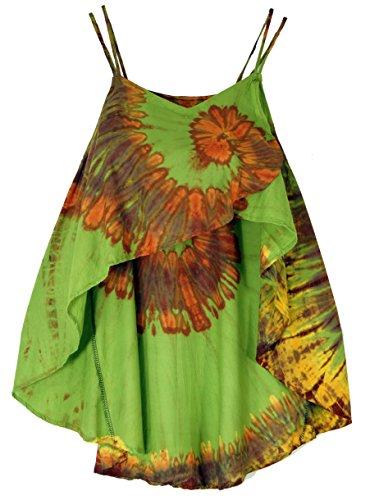 Guru-Shop, Brede Batik Tuniek Hippie Chique, Strand Tuniek, Groen, Synthetisch, Size:14, Top T-shirts