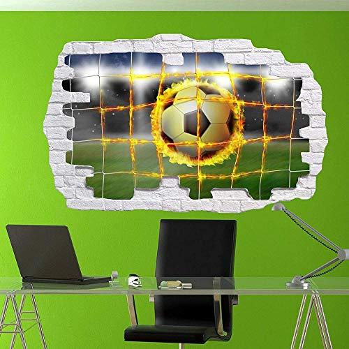Wandtattoo Poster Tapeten Football Net Flames Wall Sticker Art Poster Decal Mural Boys Room Decor-50x70cm