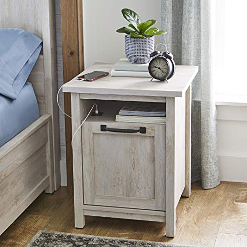 Better Homes and Gardens Modern Farmhouse Side Table/Nightstands with USB Port in Rustic White