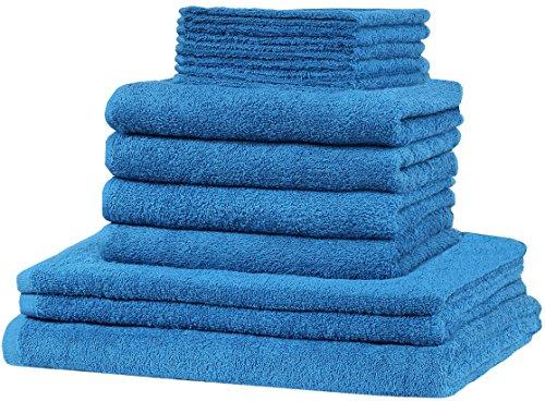 12 tlg. Frottier Handtuch XXL SET: alle Größen abgedeckt! - 5x Gästetücher, 4x Handtücher, 2x Duschtücher, 1x Badetuch - 100% Baumwolle 10 Top Farben (Royal blau)