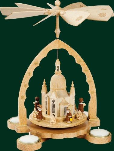 16098 Christmas Pyramid Ore Mountains Richard Glässer Seiffen Women's Church with Court 1 Tier for Tea Lights Natural