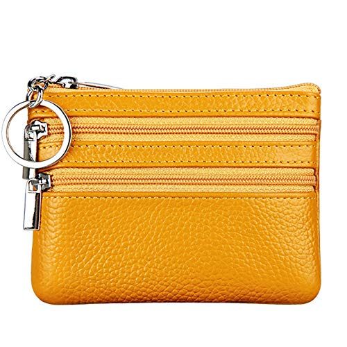 Women's Genuine Leather Coin Purse Mini Pouch Change Wallet with Key Ring,Yellow