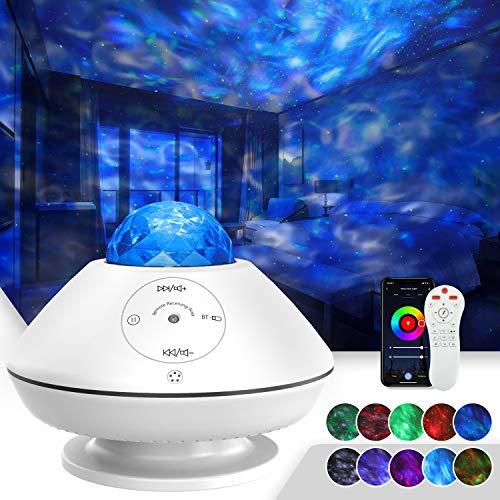 TATE GUARD LED Sternenhimmel Projektor Nachtlicht mit Musik,Ozeanwellen-Sternenlicht Projektor,10 Farbmodi,Fernbedienung/Bluetooth/Soundsteuerung/Timer,für Kinder,Schlafzimmer,Party Dekor Weiß