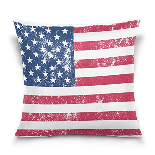 MyDaily Kissenbezug, Motiv USA-Flagge, quadratisch, Baumwolle, Samt, 40,6 x 40,6 cm, Samt, multi, 50,80 cm X 50,80 cm