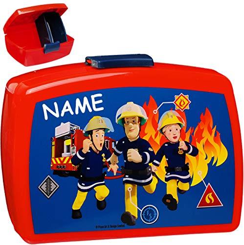 alles-meine.de GmbH Lunchbox / Brotdose -  Feuerwehrmann Sam  - incl. Name - mit extra Einsatz / herausnehmbaren Fach - BPA frei - Brotbüchse Küche Essen - für Jungen - Kinder ..