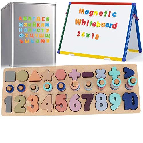 Zaaqio 3 en 1 Puzzle Niños Magnéticos de Madera para Chico Juguete Madera Magnéticos para Niños Pequeños Niña Niño 3 4 5 Años