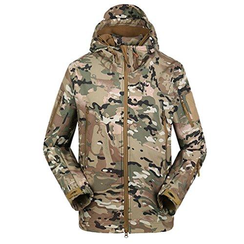 YuanDian Herren Taktisch Softshell Fleecejacke Camouflage Militär Hoodie Outdoor Wandern Camping Warm Innenfutter Winddicht Wasserdicht Mantel Jacken Skijacke CP 2XL