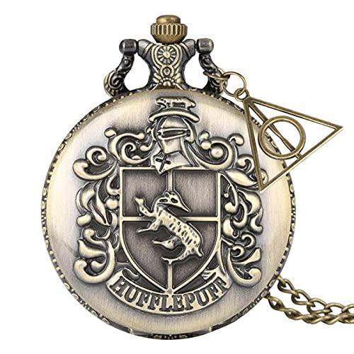 Reloj de Bolsillo de Cuarzo Collar analógico Cadena Colgante Mujer Hombrecon Hufflepuff