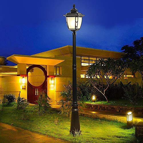 Ailtb Lámpara de columna antigua Victoria europea tradicional Linterna de vidrio IP55 Lámpara de jardín al aire libre a prueba de agua Poste de poste alto Bolardo de luz E27 Camino de entrada