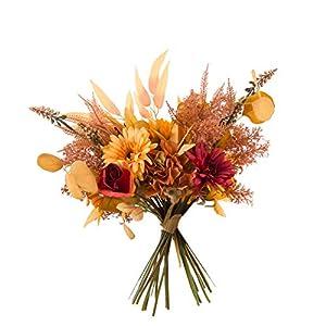 Silk Flower Arrangements cn-Knight Artificial Fall Flower Bouquet 2pcs 17 Inch Fall Wedding Bouquet for Wedding Bridal DIY Bouquet Home Décor Centerpieces(Orange Color Scheme)