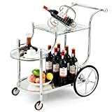 Tangkula Rolling Bar Cart, Metal Serving Cart with Tempered Glass, 3-Tier Glass Bar and Serving Cart, Tea Serving Bar Cart with 4 Wheels, Suitable for Restaurant, Hotel, Home (Silver)
