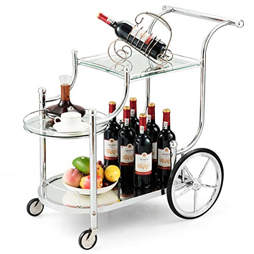 Tangkula Rolling Bar Cart, Metal Serving Cart with Tempered Glass, 3-Tier Glass Bar and Serving...