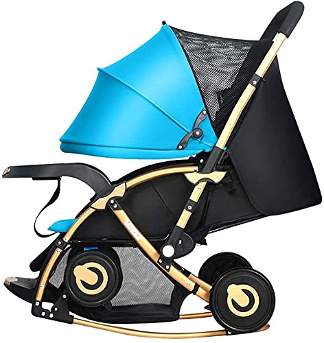 HTZ YQL Cochecitos de bebé compactos convertibles, cochecito de paseo plegable, arnés de 5 puntos, cesta de almacenamiento, gran área de asiento para añadir plato grande (color: azul) (color: azul)