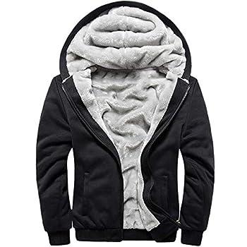 MACHLAB Men s Pullover Winter Workout Fleece Hoodie Jackets Full Zip Wool Warm Thick Coats Black#W11 XL