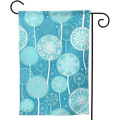 CHANGSHABF Decoratieve Banners, 70X102Cm Aangepaste Decoratieve Zomer Abstract Paardebloem Planten Patroon Vector Blauw Dubbelzijdige Tuinvlag