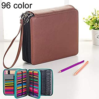 Yiherone 96 Slots Colored Pencil Case PU Leather Drawing Sketch Watercolor Pencils Holder Organizer with Hand Strap (Black) New (Color : Brown)
