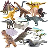 "Prextex Dinosaur and Memory Card Game Montessori Toys for Kids Combo Set with 12 Realistic Looking 10"" Large Plastic Assorted Dinosaurs Dinosaur Matching Game with 24 Piece Memory Card Game"