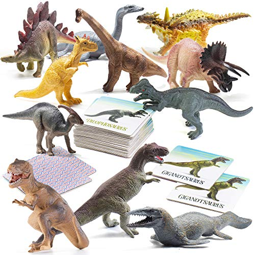 Prextex Dinosaur and Memory Card Game Montessori Toys for Kids Combo Set with 12 Realistic Looking 10quot Large Plastic Assorted Dinosaurs with 24 Piece Memory Card Game